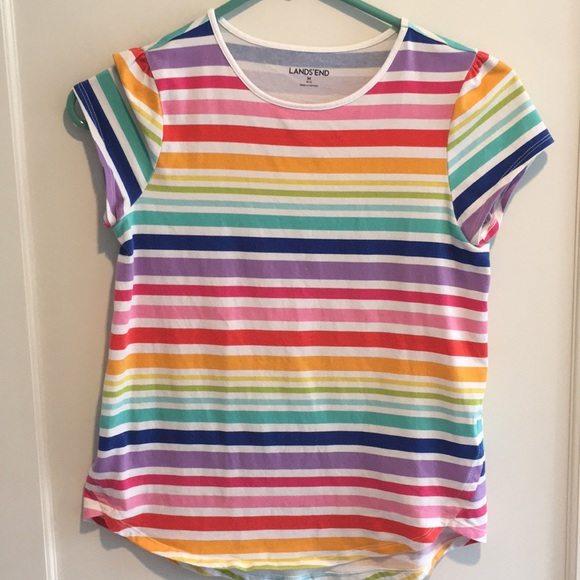 738c18fc937 Lands' End Shirts & Tops | Girls Rainbow Striped Tshirt | Poshmark